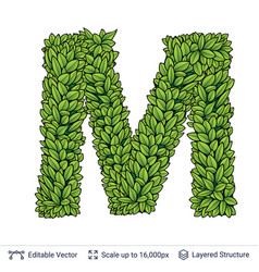 Letter m symbol of green leaves vector