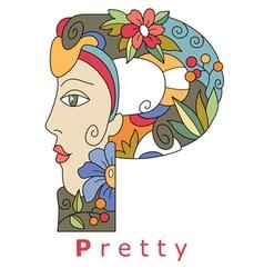 letter P pretty vector image
