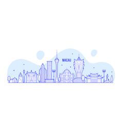macau skyline china city buildings linear vector image