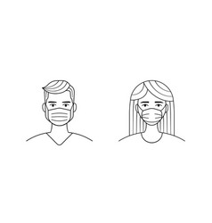 male and female wearing medical face protection vector image