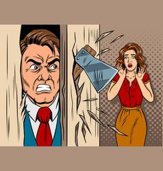 Man breaking in the door comic book style vector
