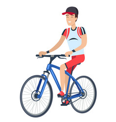Man riding bicycle poster vector