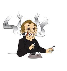 man smoking cigarettes and cigar vector image