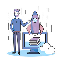 Man with computer online books and rocket app vector