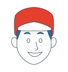 man with sport cap character face avatar male vector image