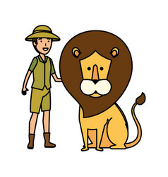 Man worker zoo with lion vector