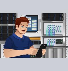 Man working in computer server room vector