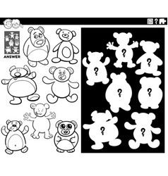 Matching shapes game with teddy bears color book vector