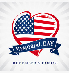 memorial day usa heart emblem flag colored vector image