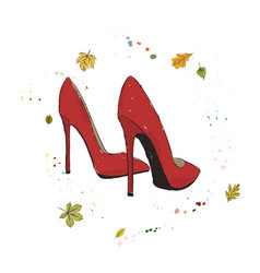 modern stylish shoes of red color shoes on the vector image