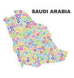 Mosaic saudi arabia map of cogwheel elements vector