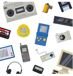 Old technology devices pattern vector