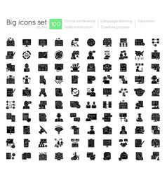 online education black glyph icons set on white vector image
