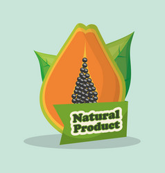 papaya natural product market label vector image