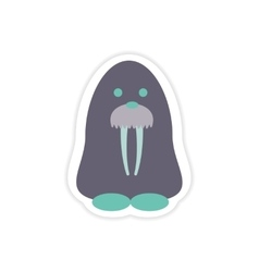 Paper sticker on white background Arctic walrus vector