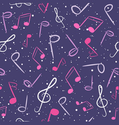 pink and purple musical seamless pattern vector image