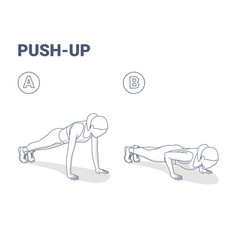 Push-ups home workout exercise woman silhouette vector
