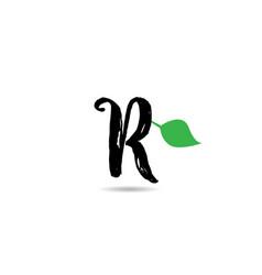 R letter grunge handwritten geen leaf alphabet vector