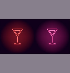 red and pink neon cocktail wineglass vector image