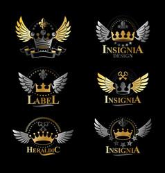 royal crowns emblems set heraldic design elements vector image