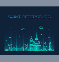 saint petersburg skyline russia linear city vector image