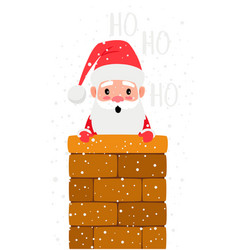 santa looking from chimney vector image