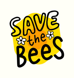 save bees banner creative font for world bees vector image