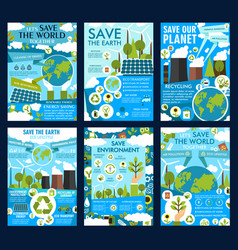 Save earth and green eco planet posters vector