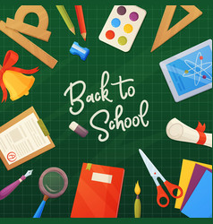 school background cartoon elements on backboard vector image