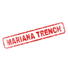 Scratched mariana trench rounded rectangle stamp vector