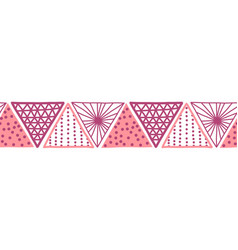 seamless border pink triangles hand drawn vector image