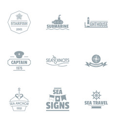 Seaside logo set simple style vector