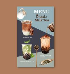 Set brown sugar bubble milk tea menu ad content vector