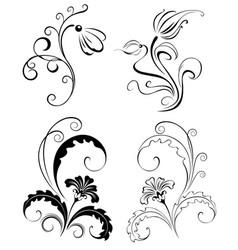 Set Decorative Flowers vector