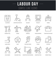 Set line icons labour day vector