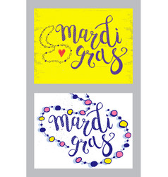 Set of carnival mardi gras brush pen sign mardi vector