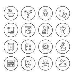 set round line icons of bathroom vector image