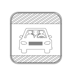 silhouette button road sign square of car crossing vector image