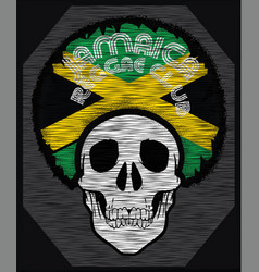 Skull t shirt graphic design jamaica flag vector