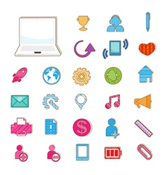 Social color Media color Icon Network vector image