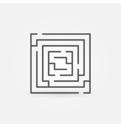 Square labyrinth linear icon vector