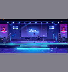 stage with rock music instruments and equipment vector image