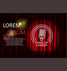 Stand up comedy with neon microphone sign and red vector