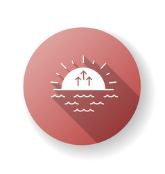 Sunrise red flat design long shadow glyph icon vector