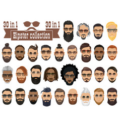 Superset of 30 hipsters bearded men with vector
