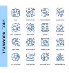 thin line teamwork related icons set vector image