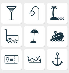 Tourism icons set with trip access aperitif vector