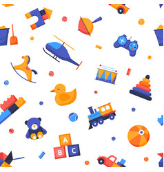 toys - flat design style seamless pattern vector image