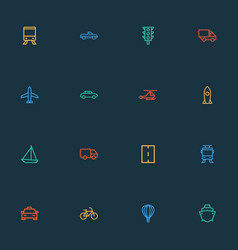 transport icons line style set with aerostat vector image