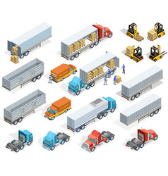 Transportation isometric elements set vector
